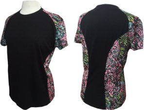 Women's/Chica's Short Sleeve Brush Country Black Tee with Pink Camo Accents