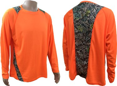 Men's Brush Country Blaze Orange Long Sleeve Tee with Camo Accents