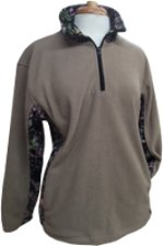 Chica's / Brush Country Women's Fleece Pullover - Tan with Pink Camo Accents